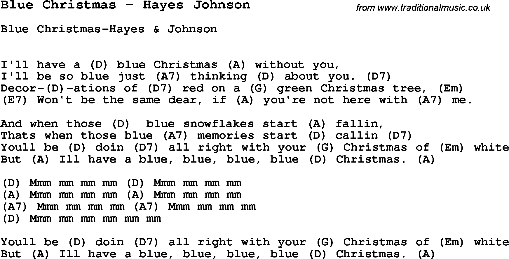 Song Blue Christmas by Hayes Johnson, song lyric for vocal performance plus accompaniment chords ...