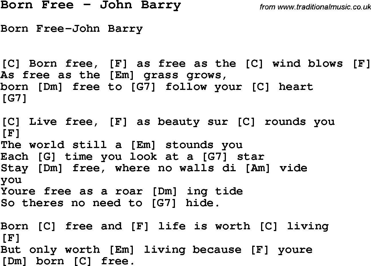 Song born free by john barry song lyric for vocal performance song born free by john barry with lyrics for vocal performance and accompaniment chords for hexwebz Image collections