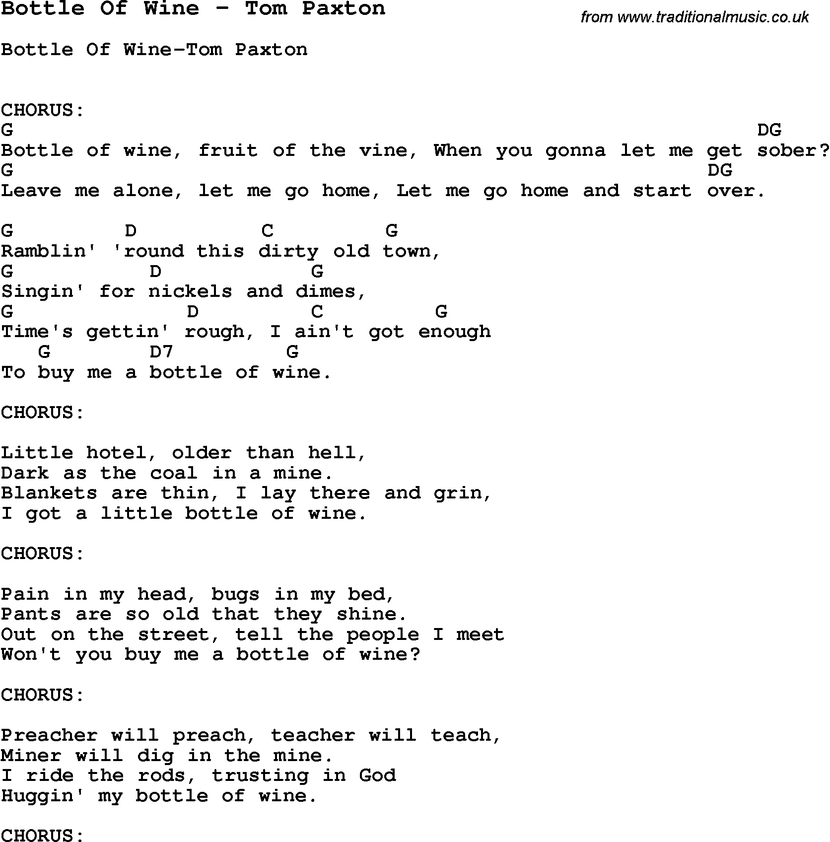 Song bottle of wine by tom paxton song lyric for vocal song bottle of wine by tom paxton with lyrics for vocal performance and accompaniment chords hexwebz Image collections