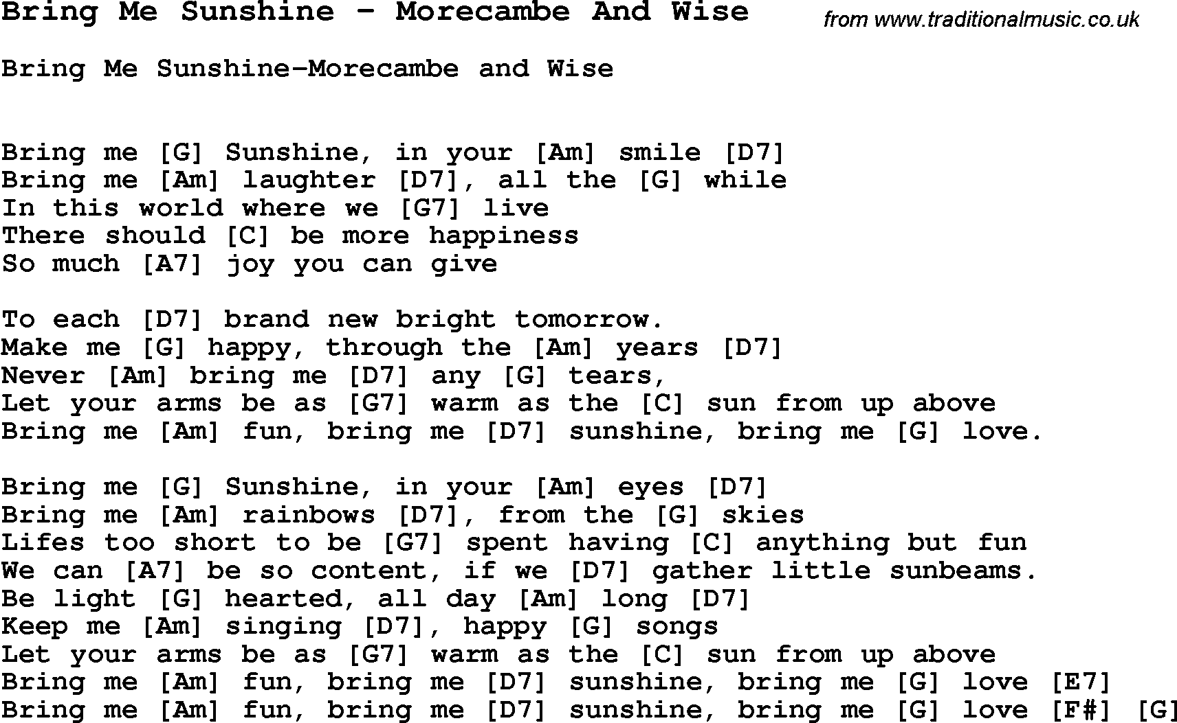 Song Bring Me Sunshine By Morecambe And Wise Song Lyric For Vocal