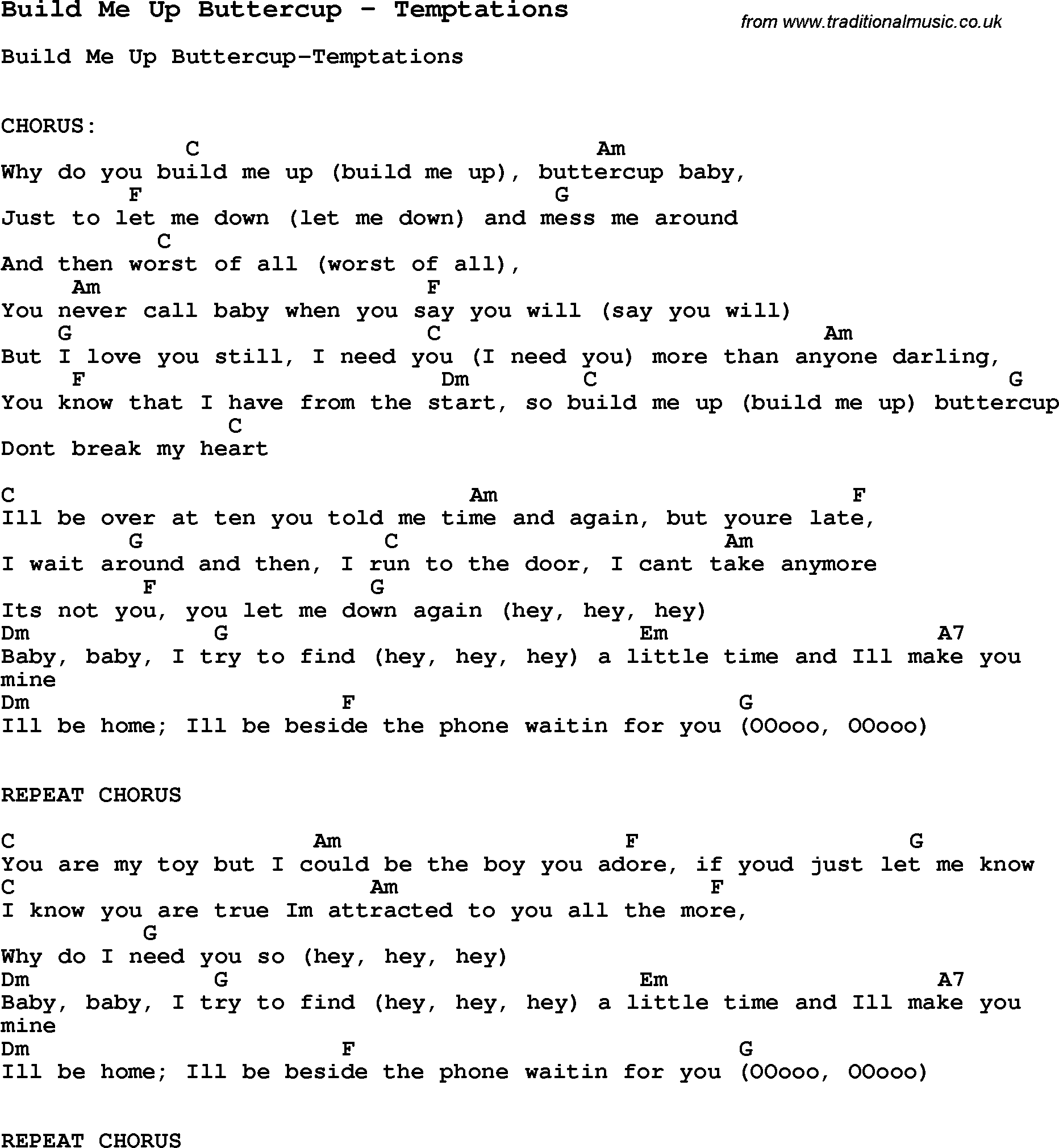 Song Build Me Up Buttercup By Temptations Song Lyric For