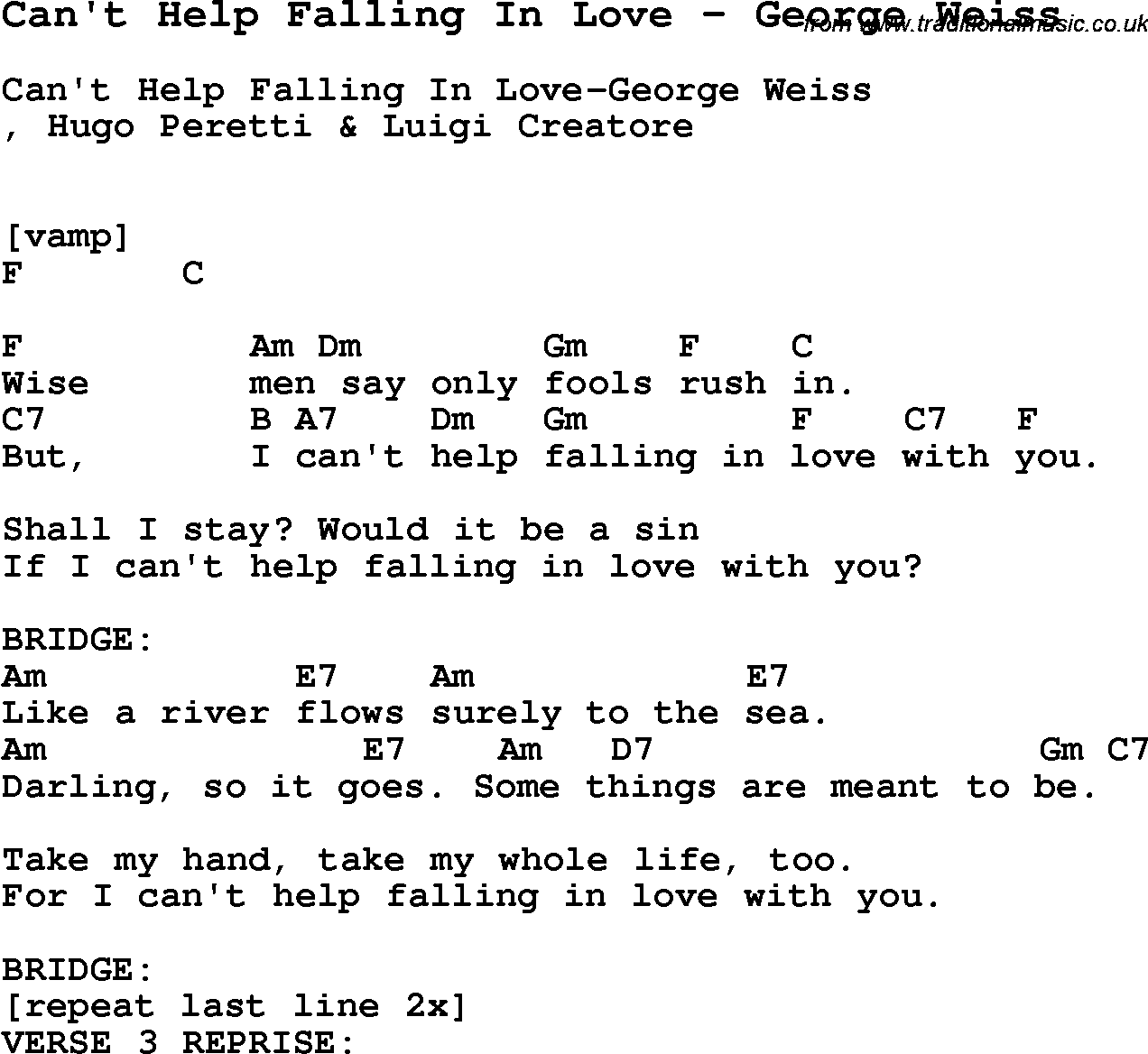 Song Cant Help Falling In Love By George Weiss Song Lyric For