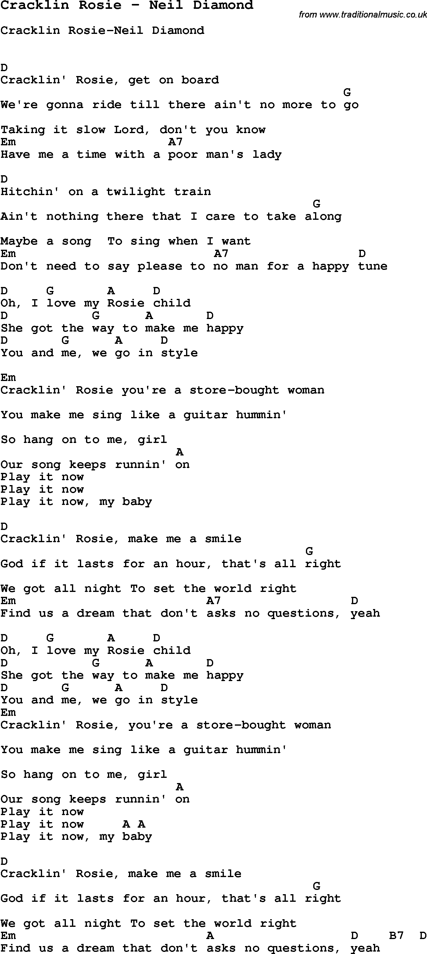 Song Cracklin Rosie By Neil Diamond Song Lyric For Vocal