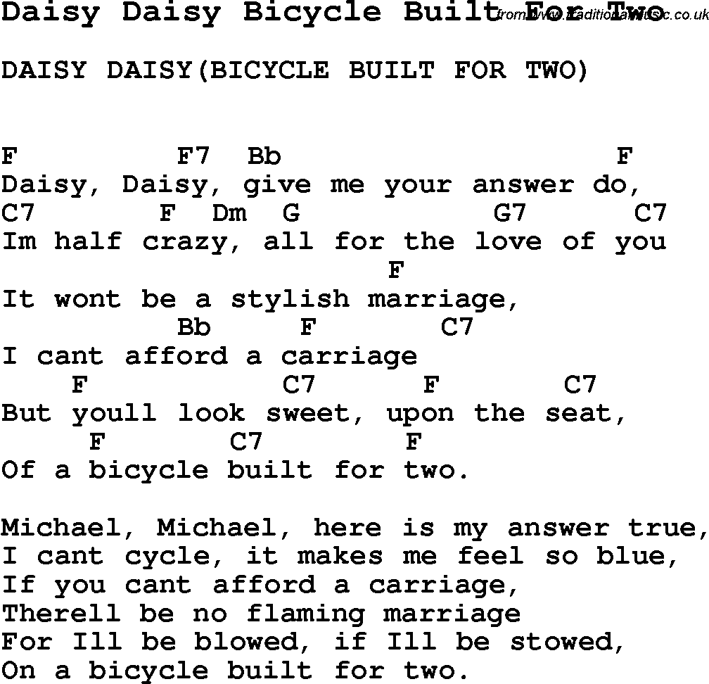 Song Daisy Daisy Bicycle Built For Two Song Lyric For Vocal