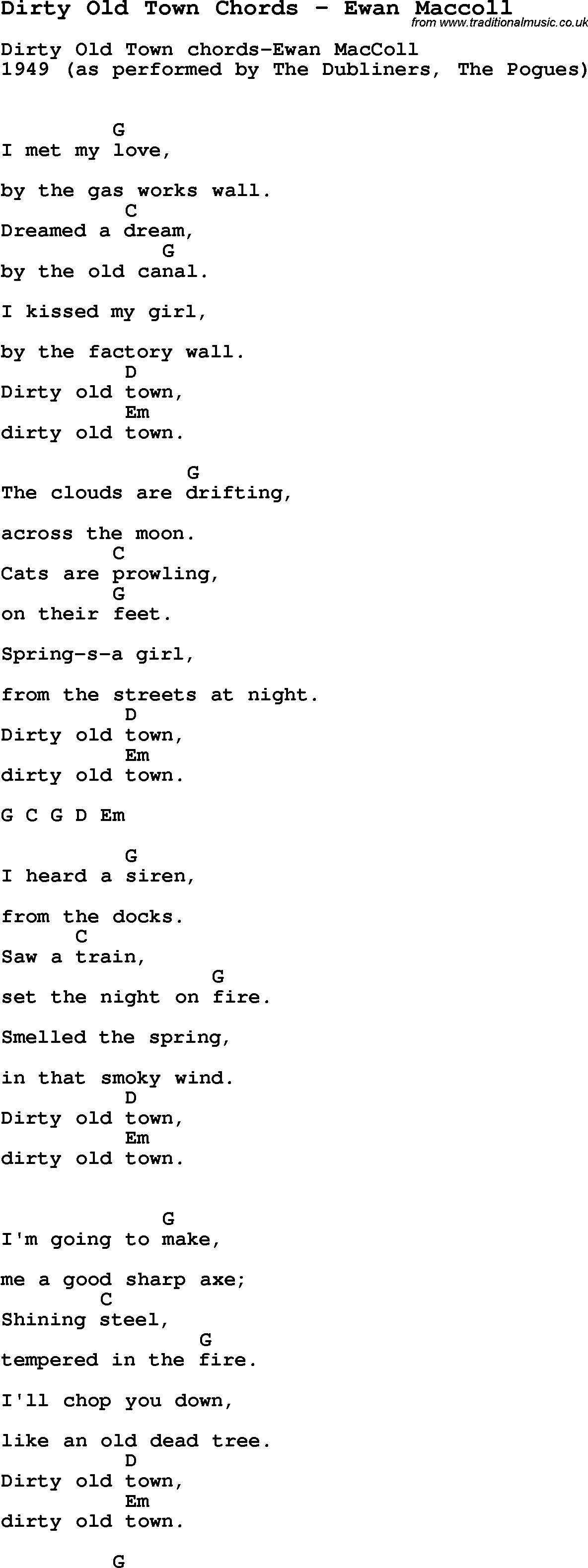 Song dirty old town chords by ewan maccoll song lyric for vocal song dirty old town chords by ewan maccoll with lyrics for vocal performance and accompaniment hexwebz Image collections