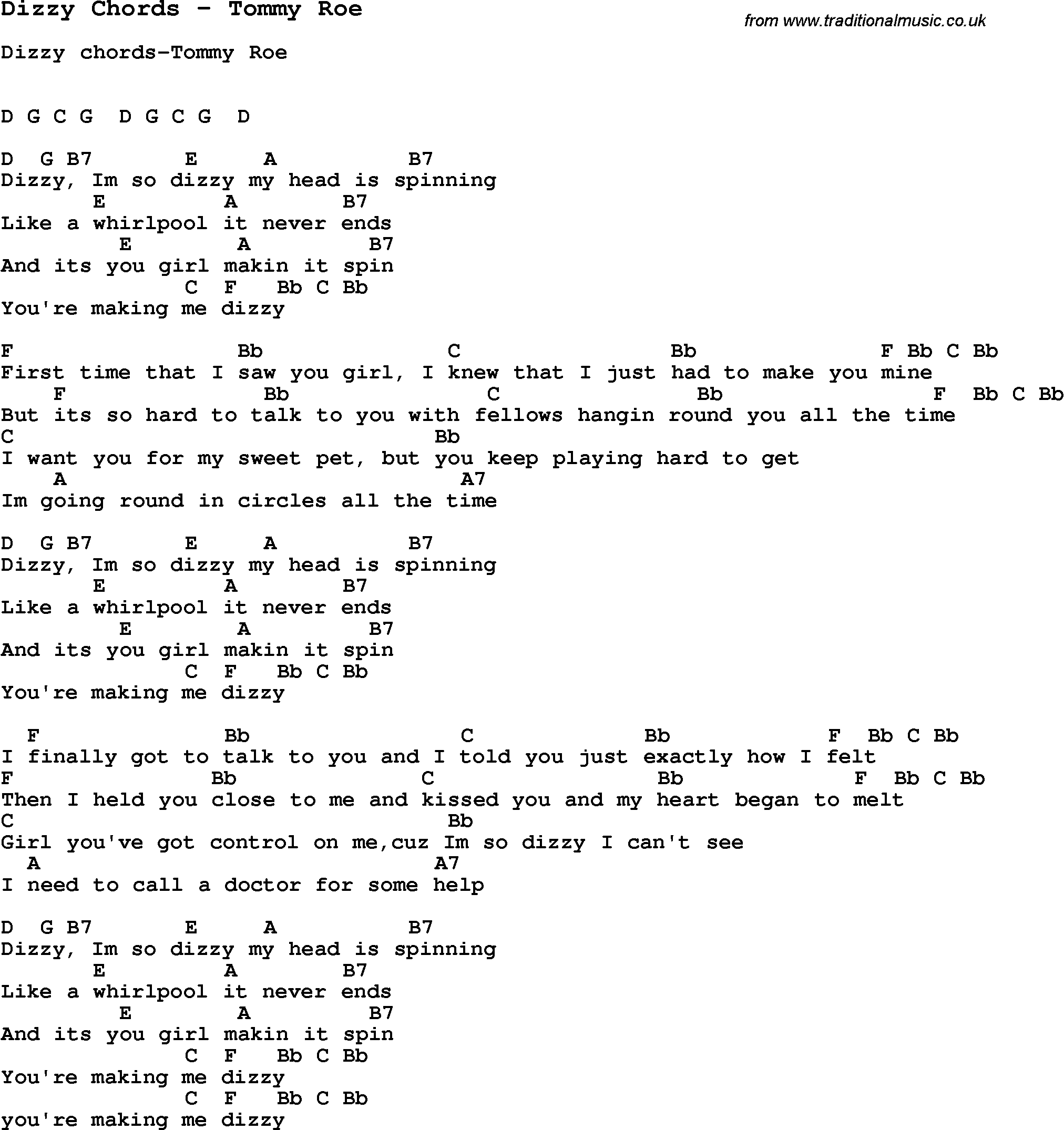 Song Dizzy Chords by Tommy Roe, song lyric for vocal performance plus accompaniment chords for ...