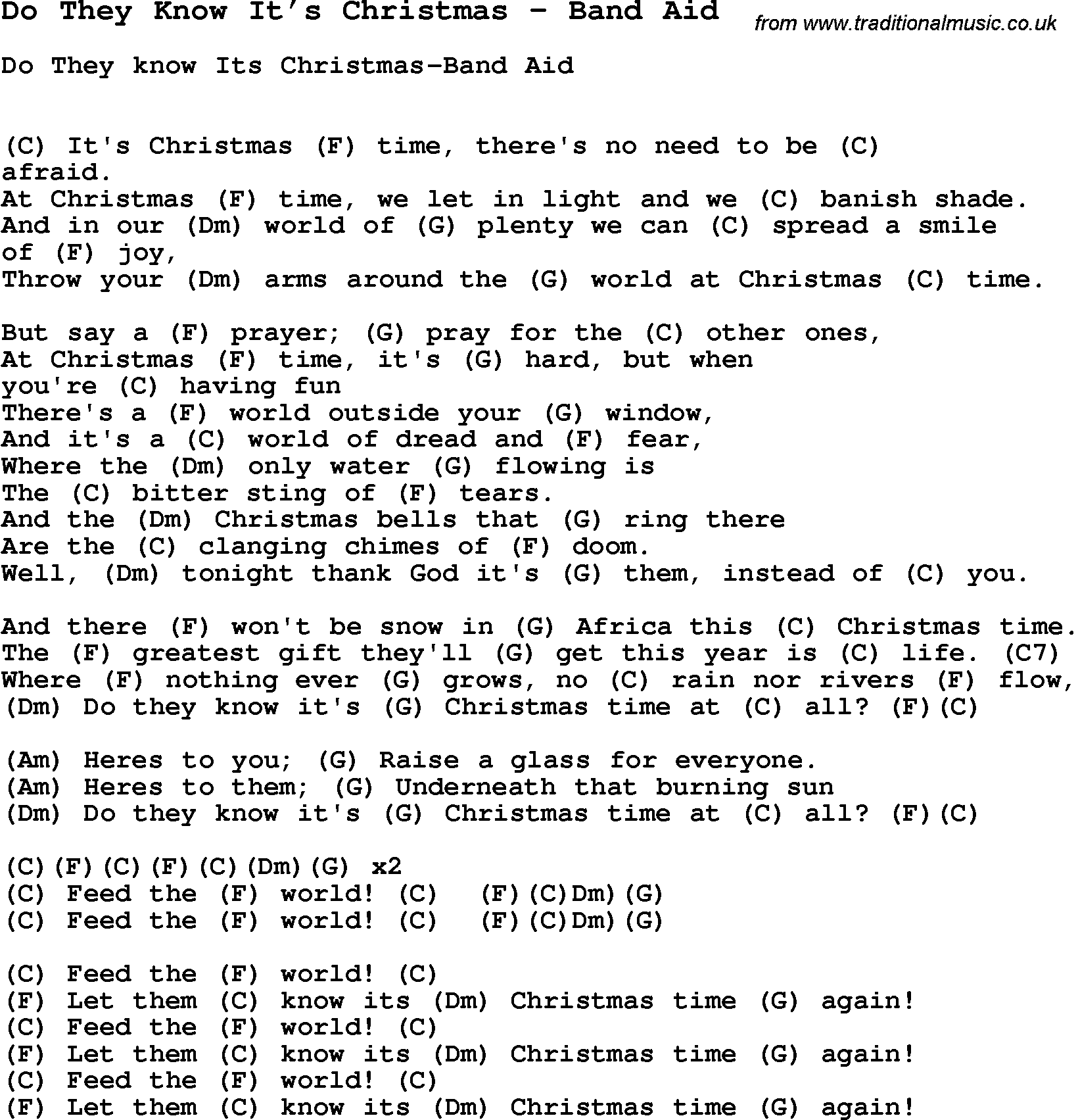 Song Do They Know It's Christmas by Band Aid, song lyric for vocal ...