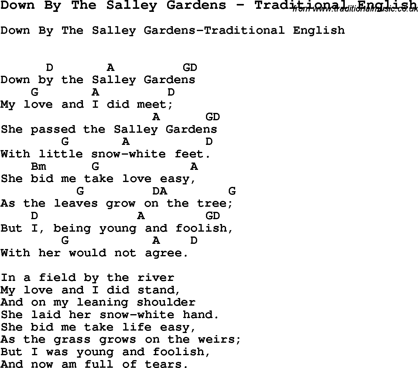 Song Down By The Salley Gardens By Traditional English Song Lyric