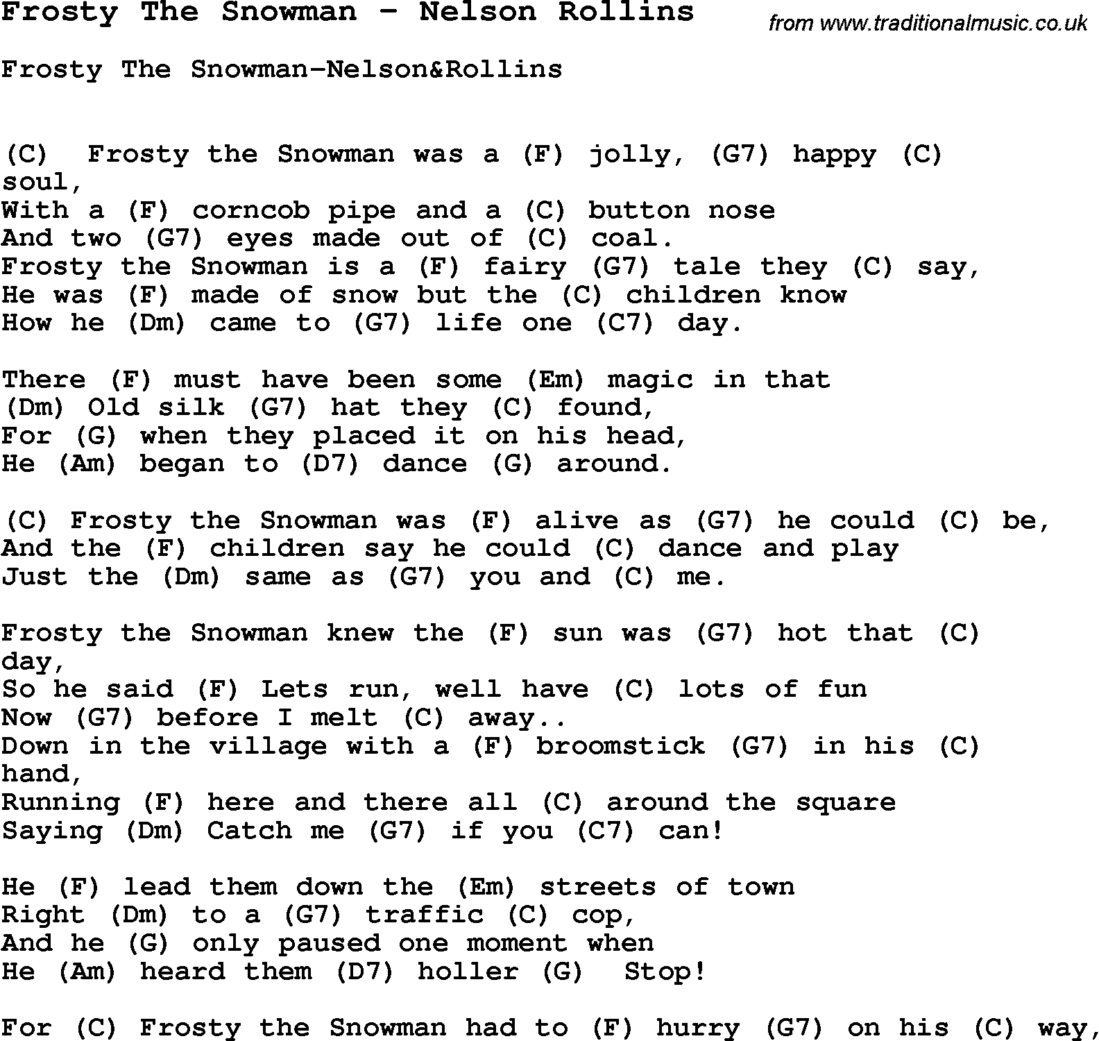 song frosty the snowman by nelson rollins song lyric for vocal