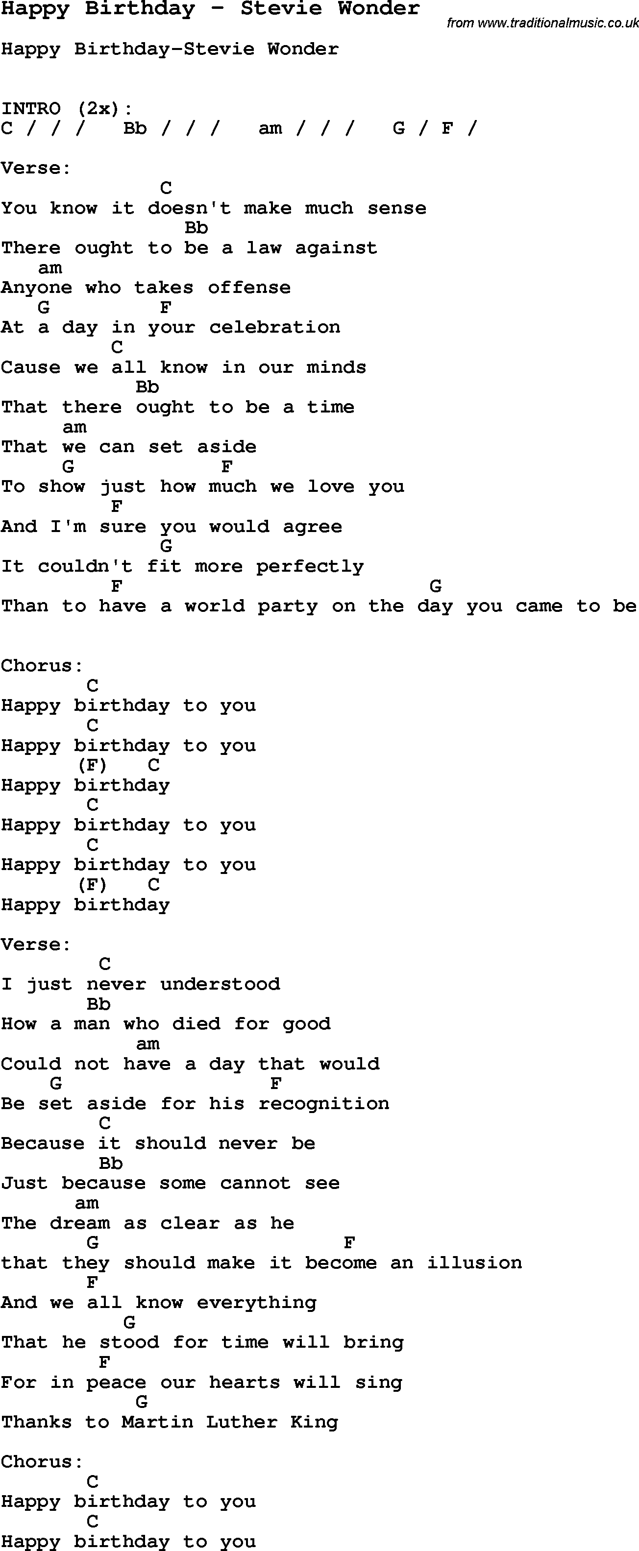 Song Happy Birthday by Stevie Wonder, song lyric for vocal performance plus accompaniment chords ...