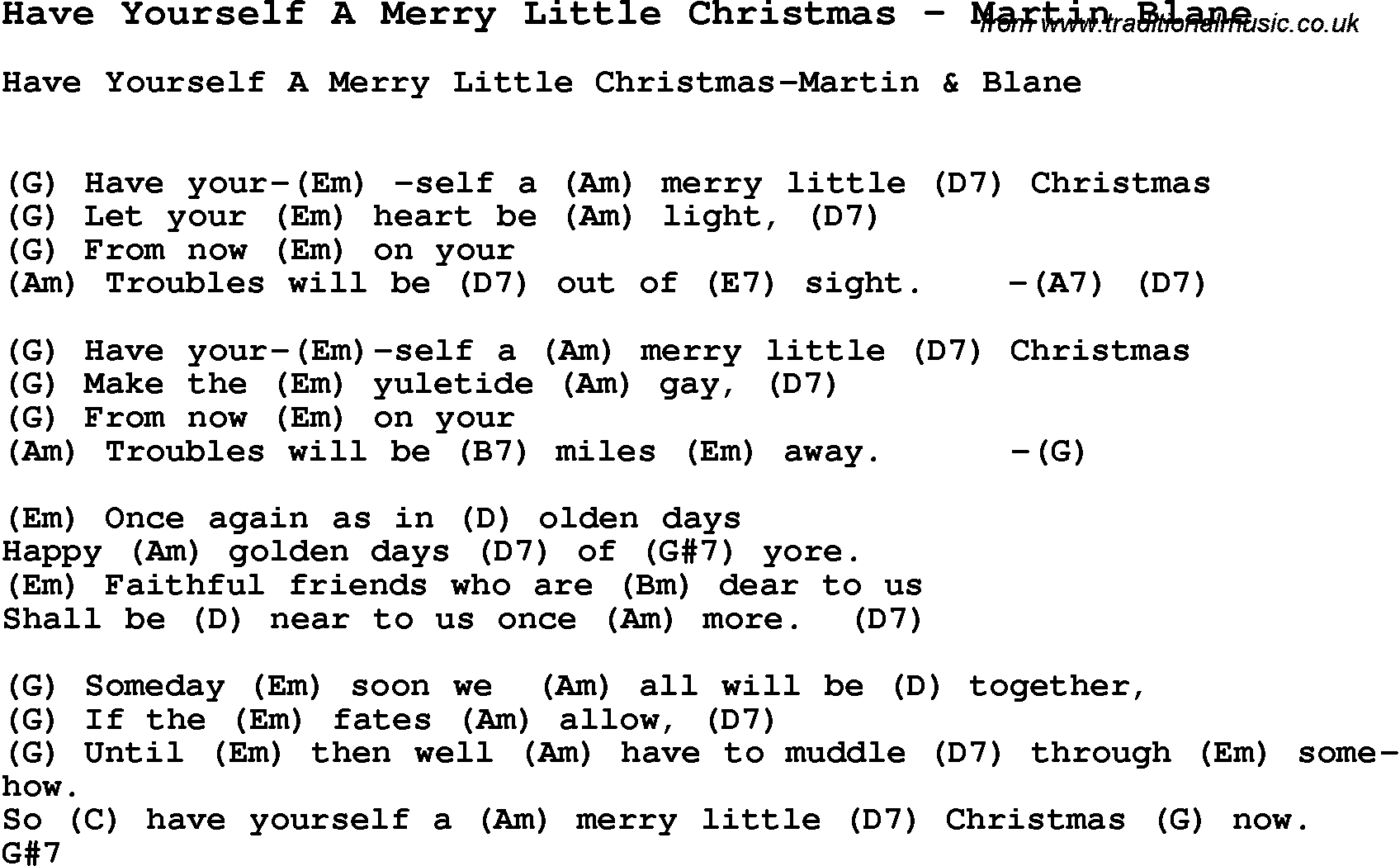 Song Have Yourself A Merry Little Christmas by Martin Blane, song ...