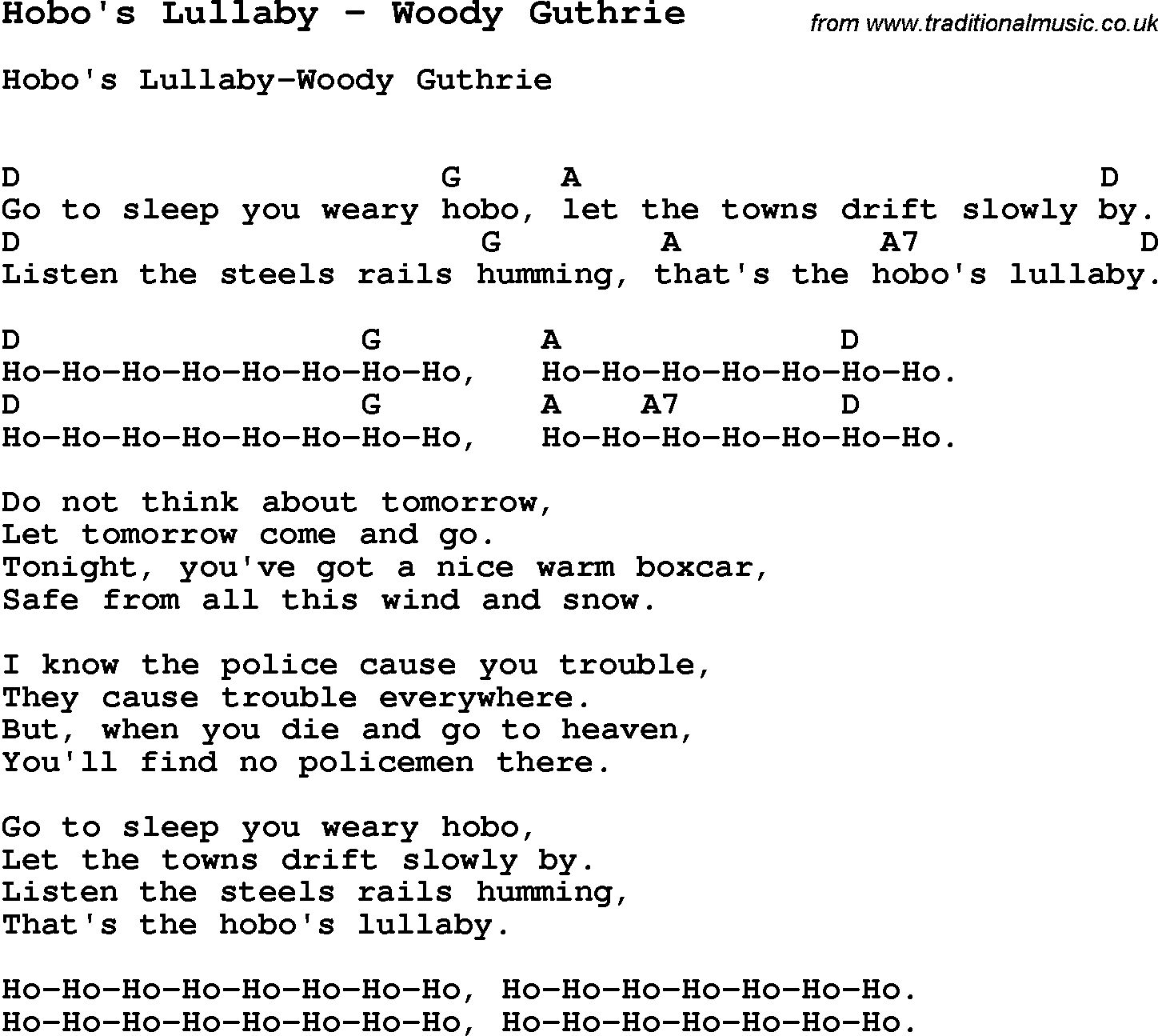 Song Hobos Lullaby By Woody Guthrie Song Lyric For Vocal
