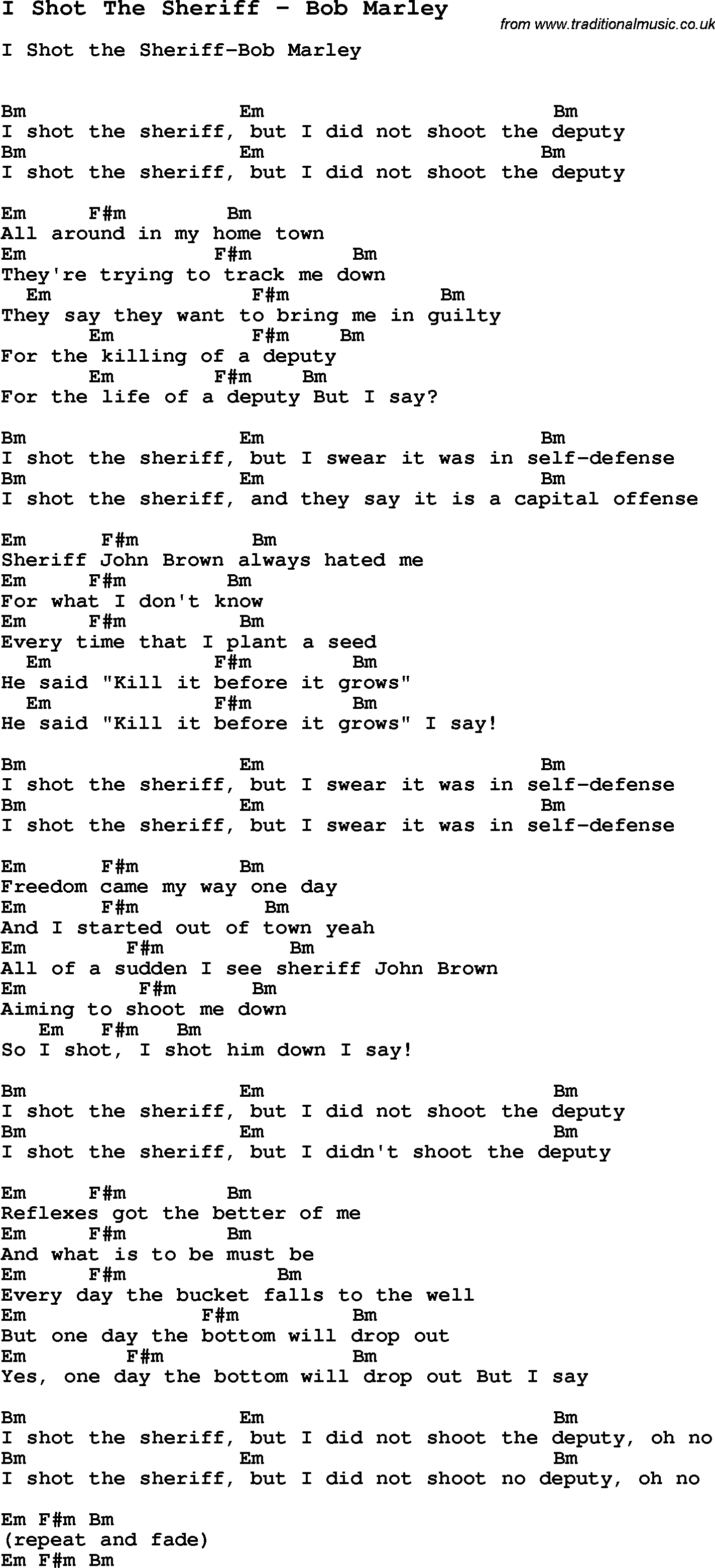 Song i shot the sheriff by bob marley song lyric for vocal song i shot the sheriff by bob marley with lyrics for vocal performance and accompaniment hexwebz Gallery