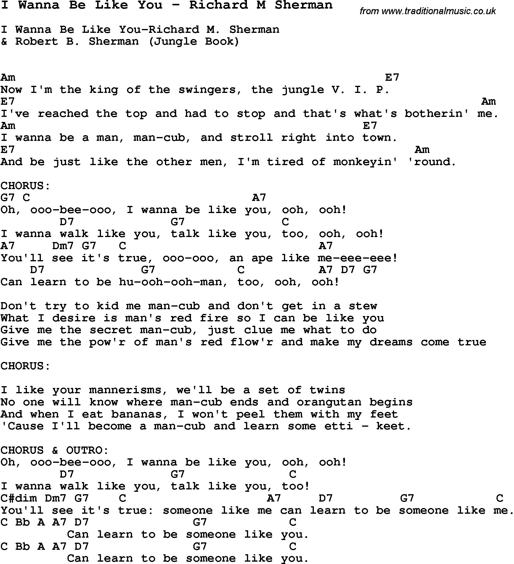 Song I Wanna Be Like You By Richard M Sherman Song Lyric For Vocal