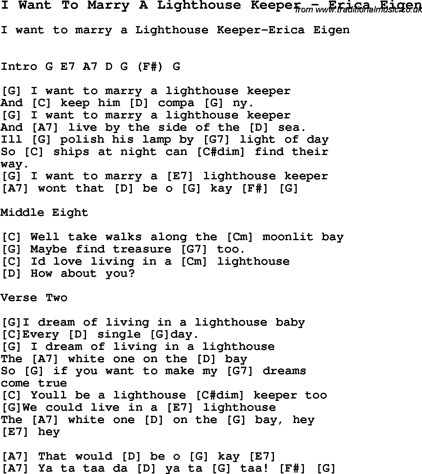 Song I Want To Marry A Lighthouse Keeper By Erica Eigen Song Lyric