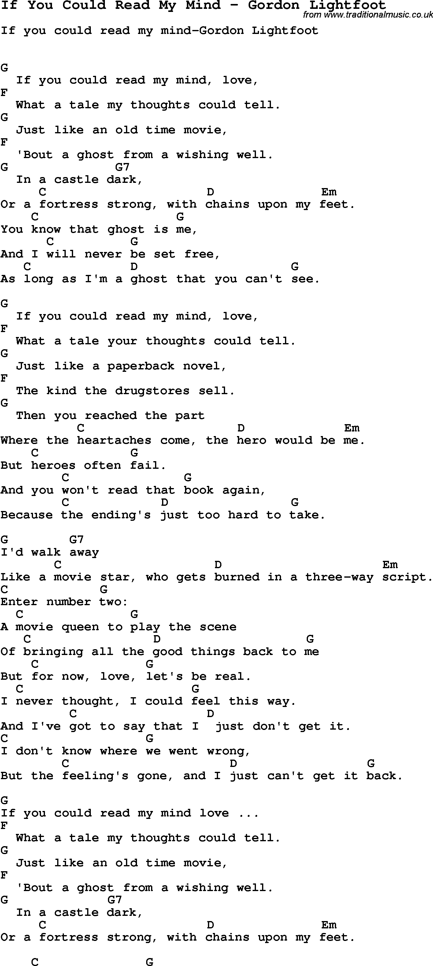 Song If You Could Read My Mind By Gordon Lightfoot Song Lyric For