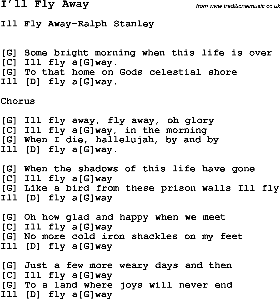 Ill fly away guitar chords
