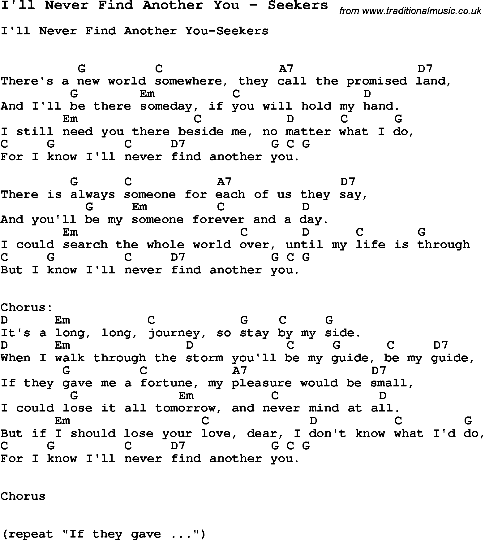 Song Ill Never Find Another You By Seekers Song Lyric For Vocal