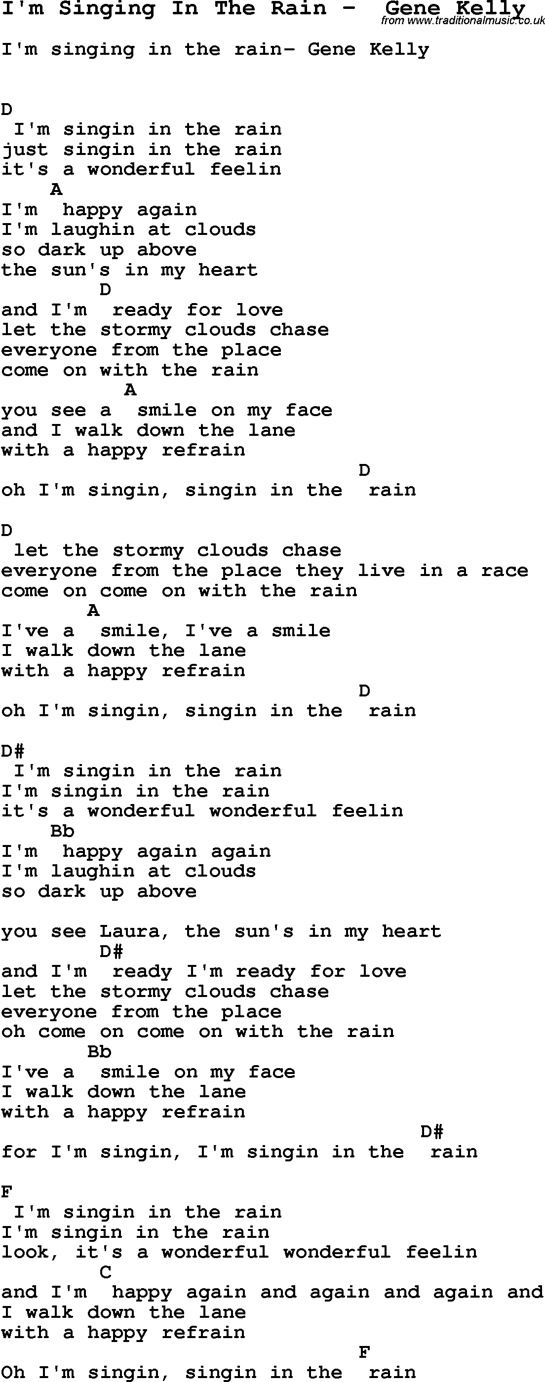 Singing in the rain guitar chords