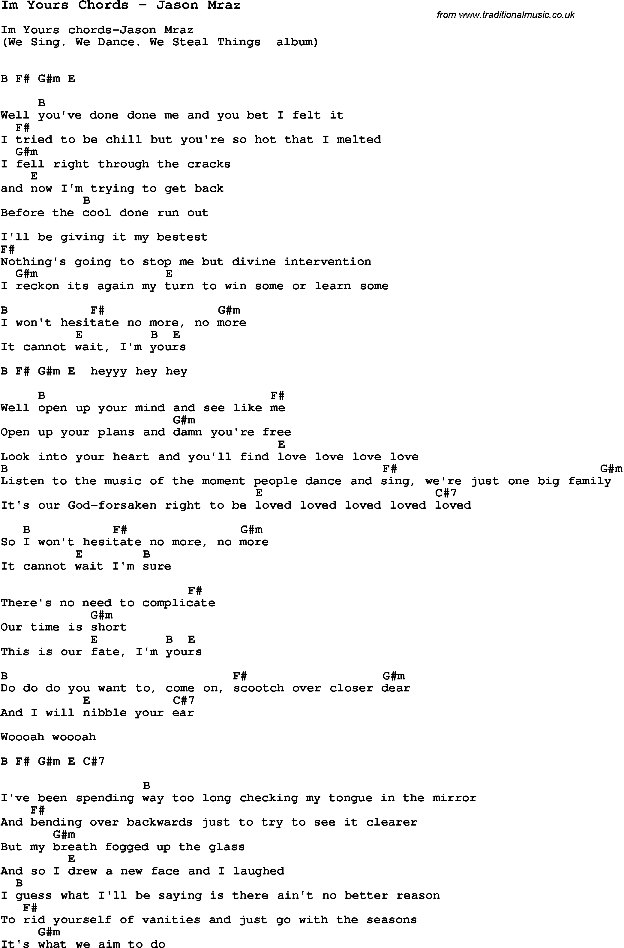 Song Im Yours Chords by Jason Mraz, song lyric for vocal performance plus accompaniment chords ...