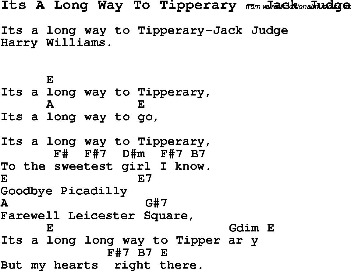 Song Its A Long Way To Tipperary by Jack Judge, song lyric for vocal performance plus ...
