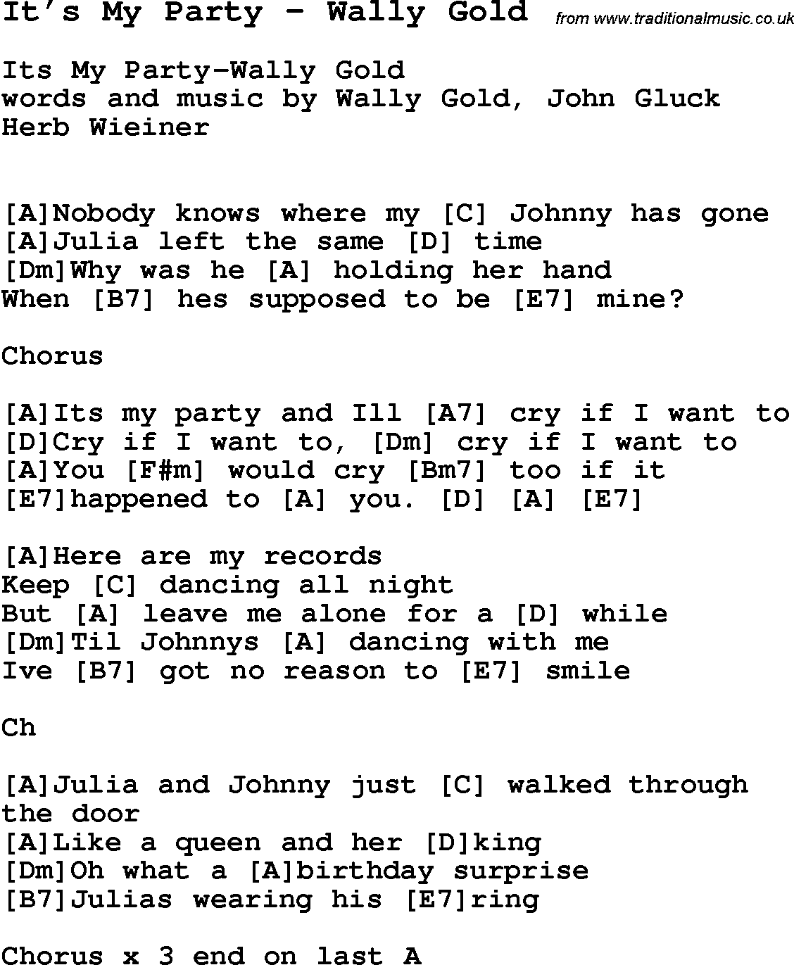 Song It's My Party by Wally Gold, song lyric for vocal