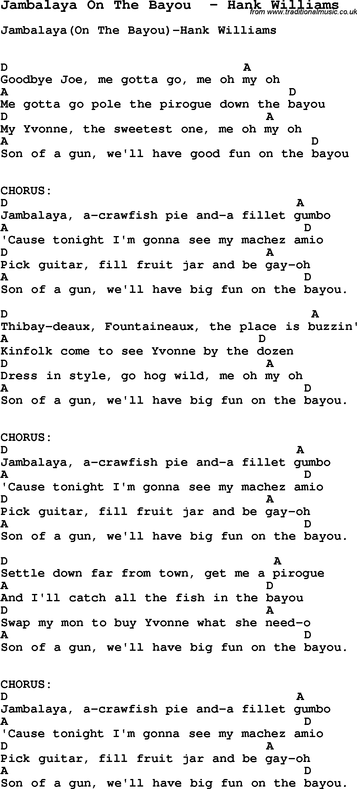 Song Jambalaya On The Bayou by Hank Williams, song lyric for vocal performance plus ...