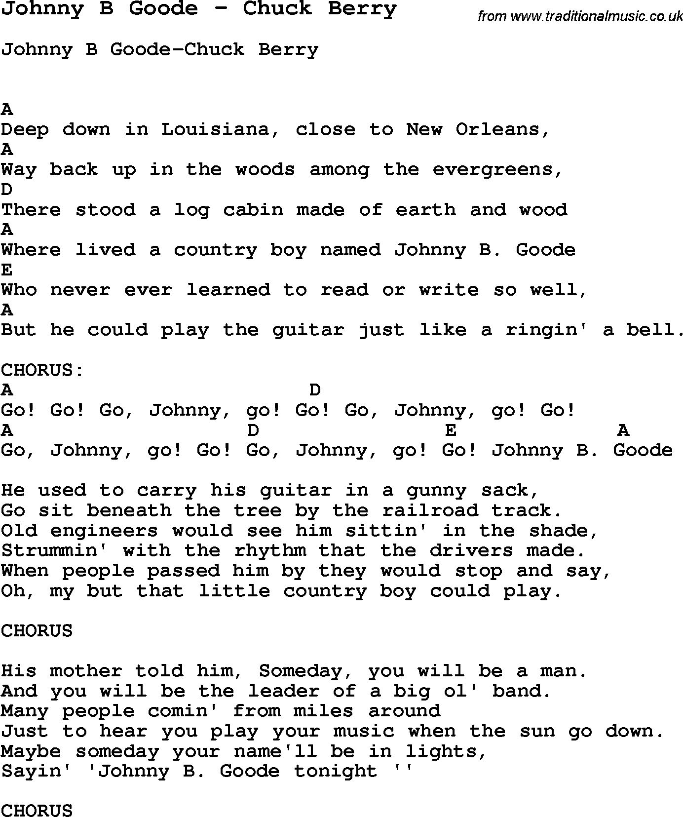 Chuck Berry - Johnny B. Goode - Lyrics - YouTube