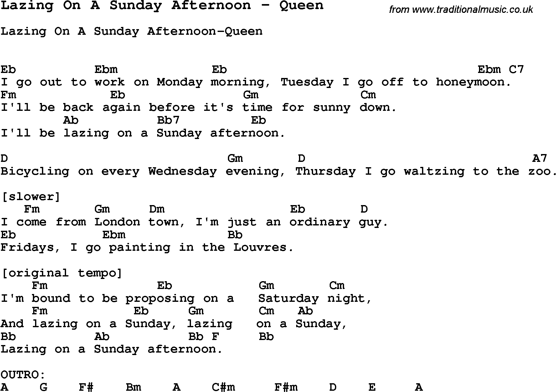 Song Lazing On A Sunday Afternoon by Queen, song lyric for vocal