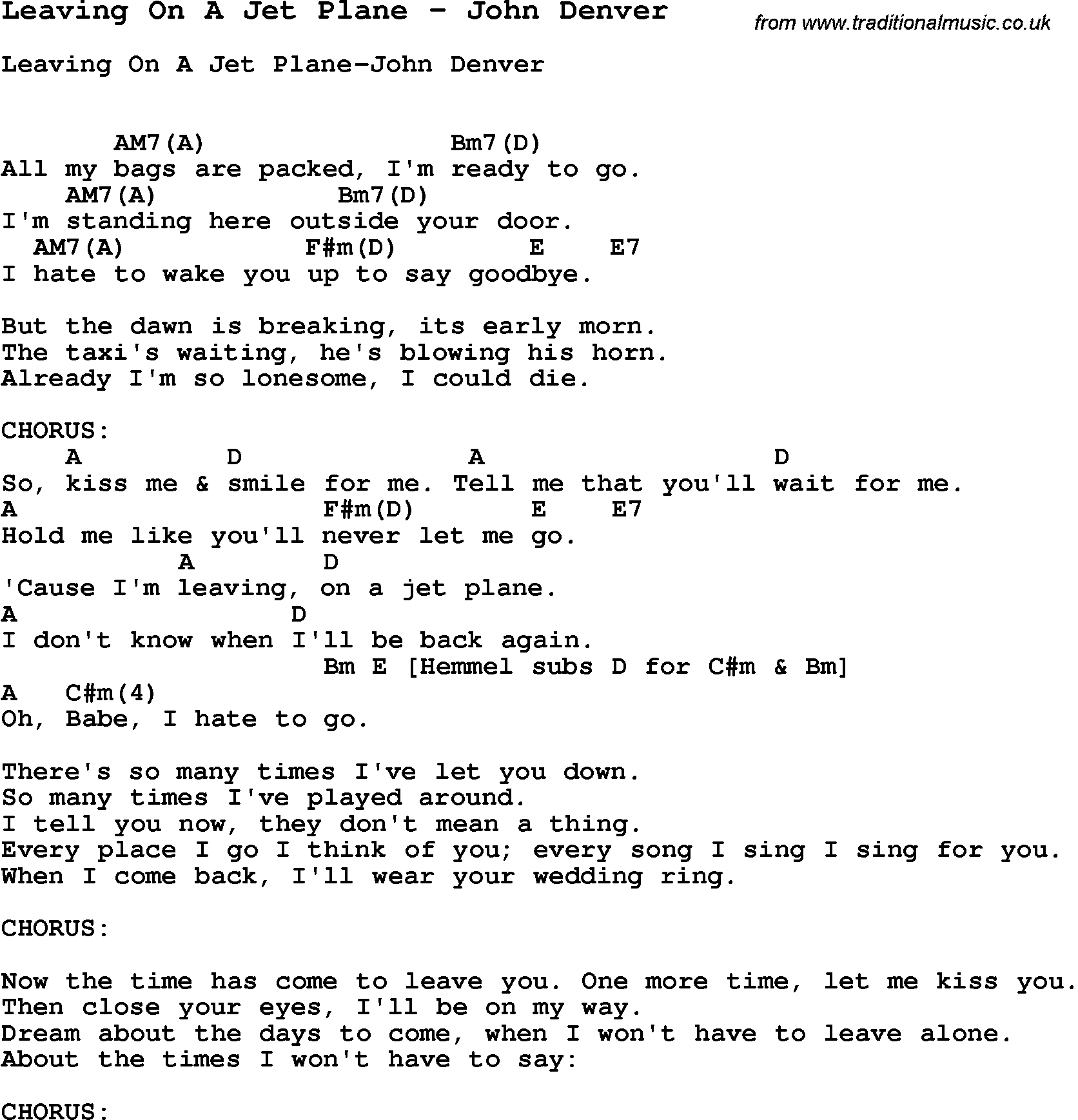 Song Leaving On A Jet Plane By John Denver Song Lyric For Vocal