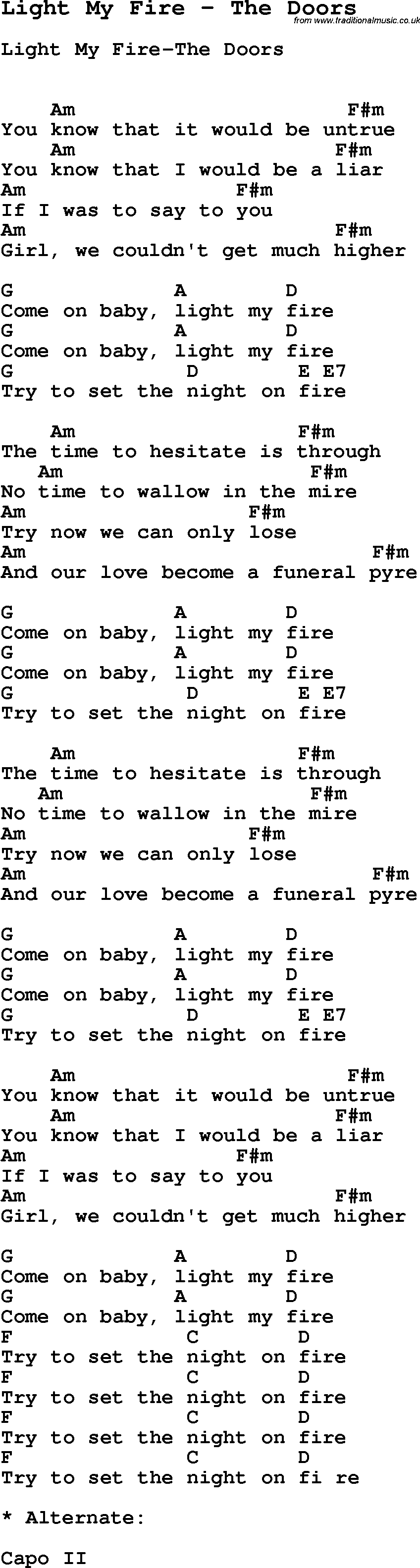 Song Light My Fire by The Doors with lyrics for vocal performance and accompaniment chords  sc 1 st  Traditional Music Library & Song Light My Fire by The Doors song lyric for vocal performance ...