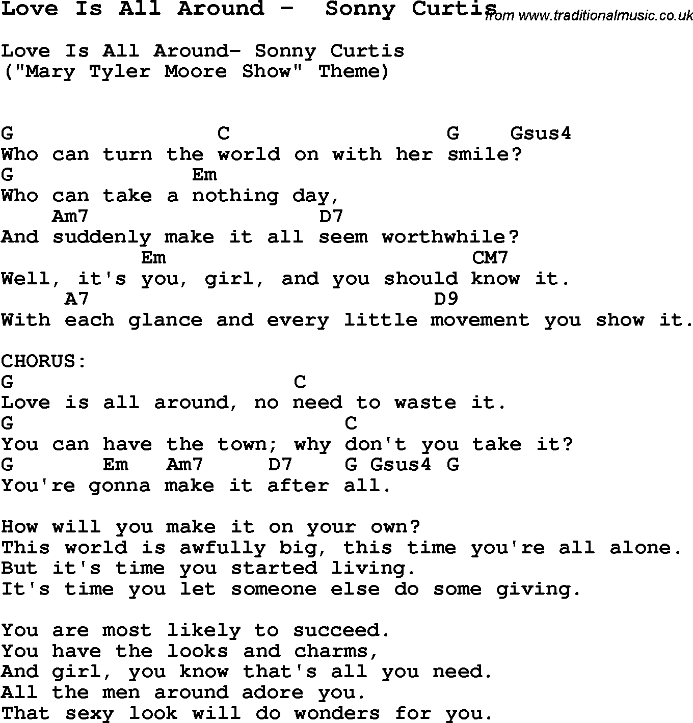 Song love is all around by sonny curtis song lyric for vocal song love is all around by sonny curtis with lyrics for vocal performance and accompaniment hexwebz Choice Image