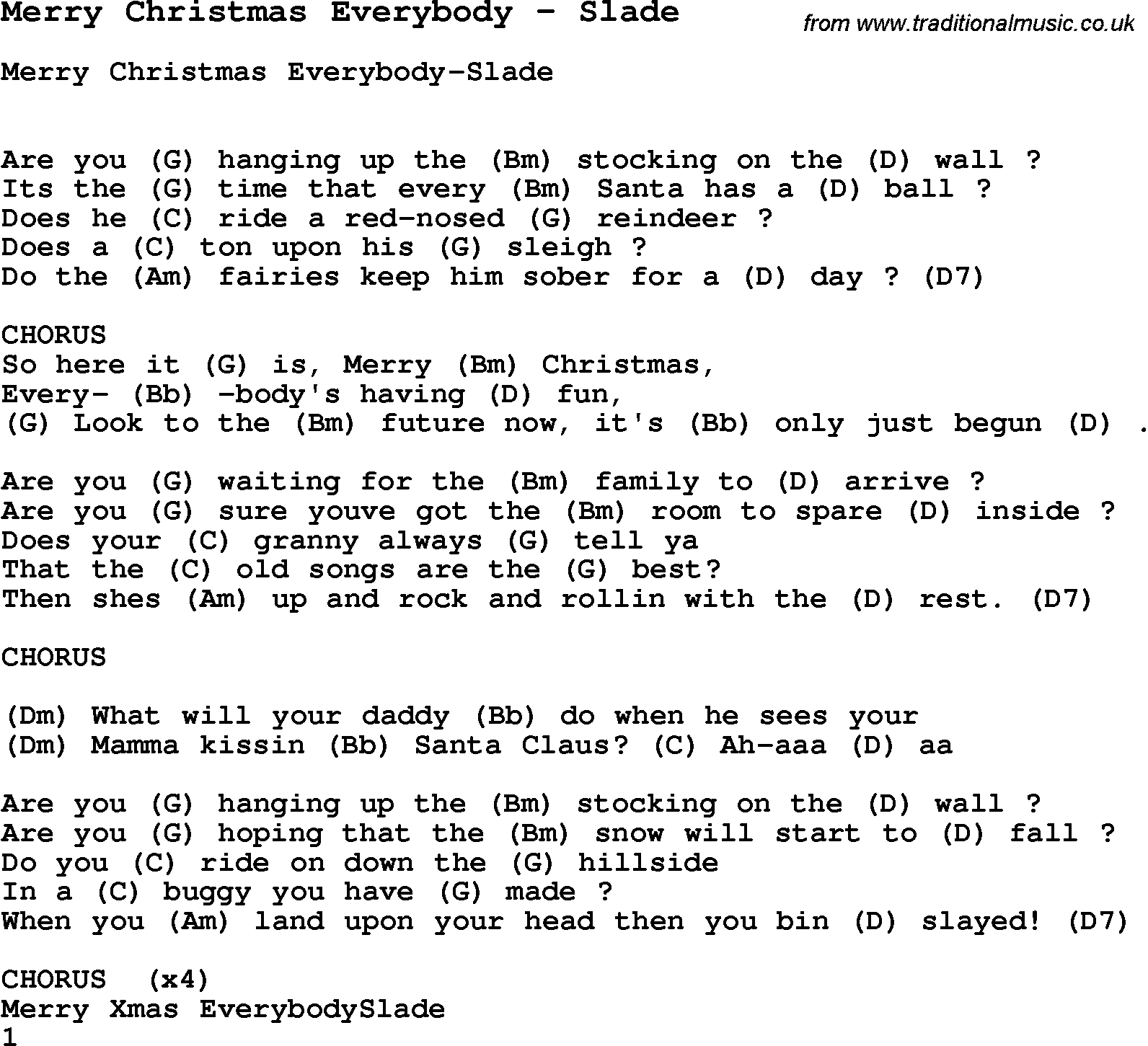 Merry Christmas Song Lyrics Song Merry Christmas Everybody