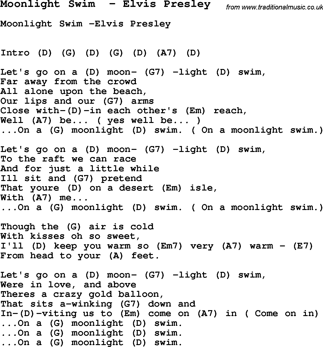 Song Moonlight Swim By Elvis Presley Song Lyric For Vocal
