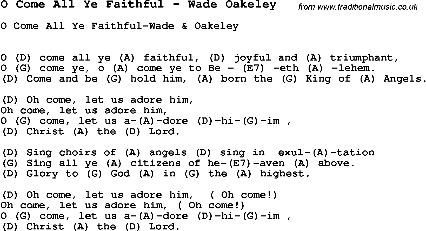 Song O Come All Ye Faithful By Wade Oakeley Song Lyric For Vocal