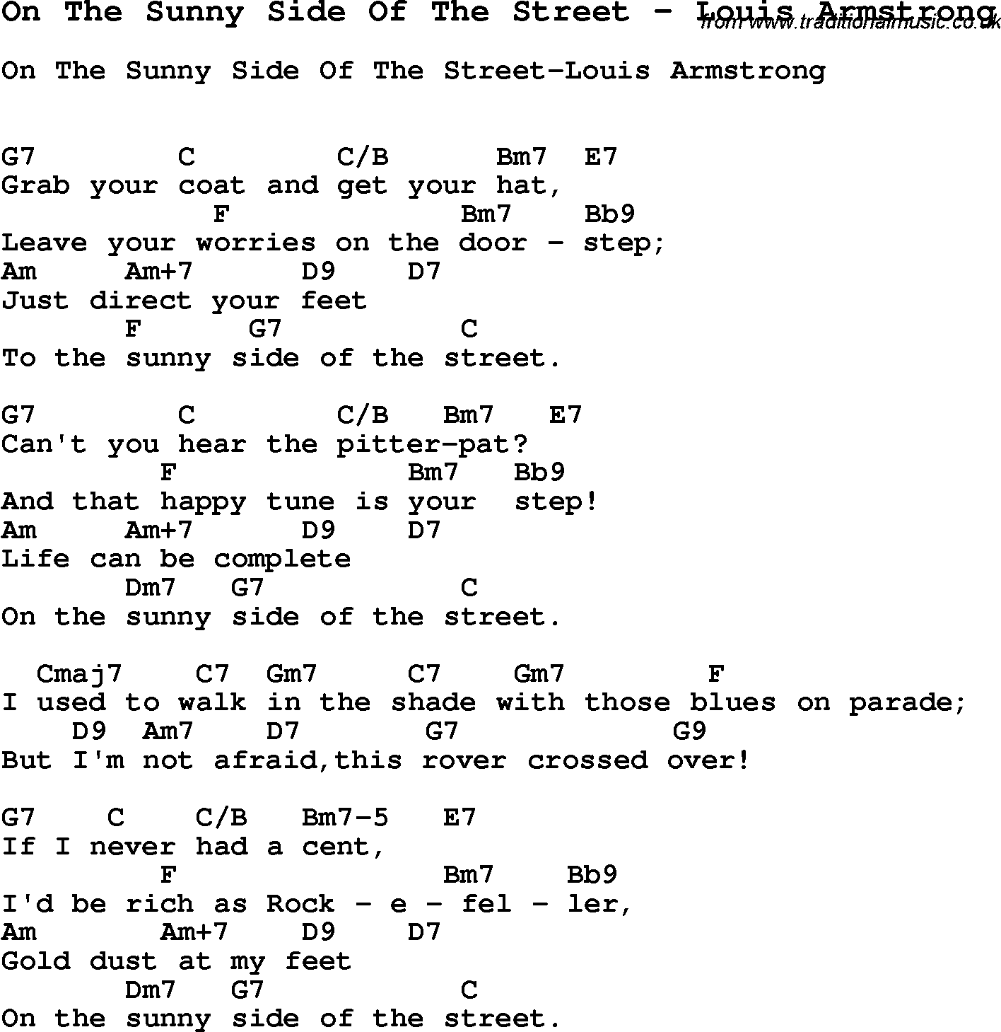 Song On The Sunny Side Of The Street By Louis Armstrong Song Lyric