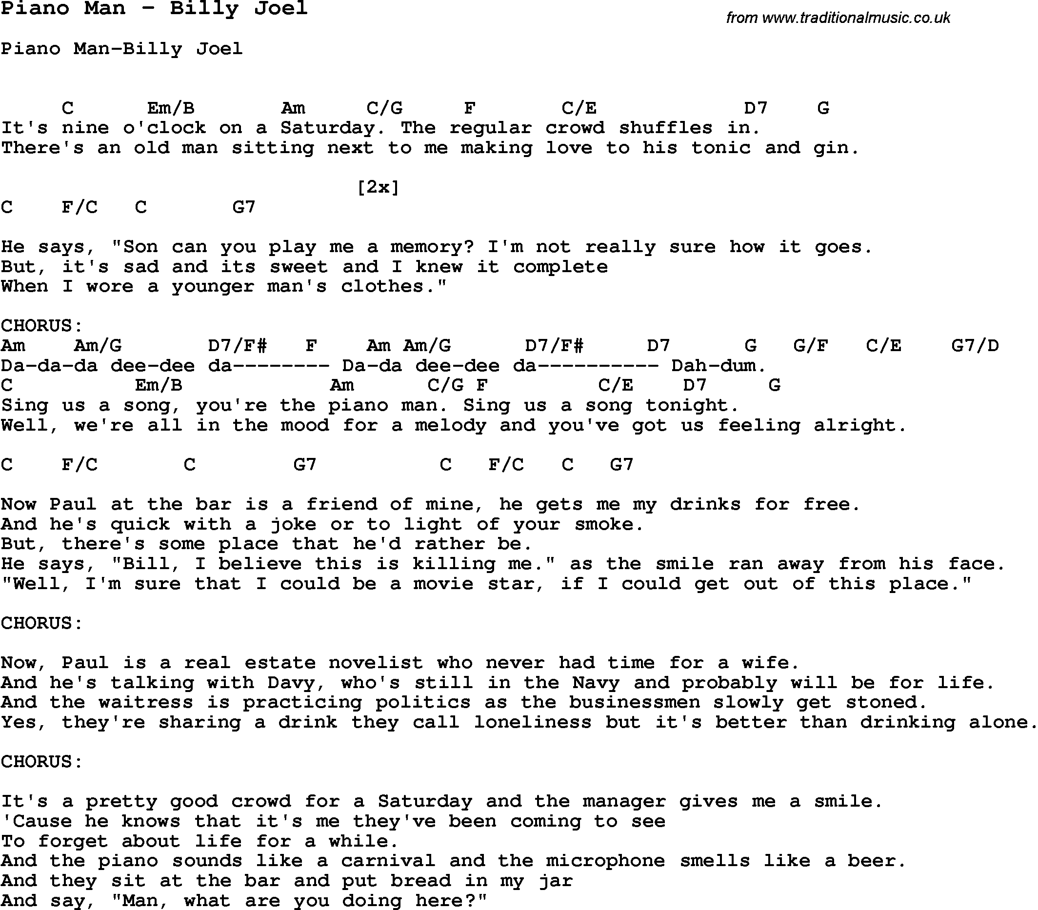 Song Piano Man by Billy Joel, song lyric for vocal performance plus accompaniment chords for ...