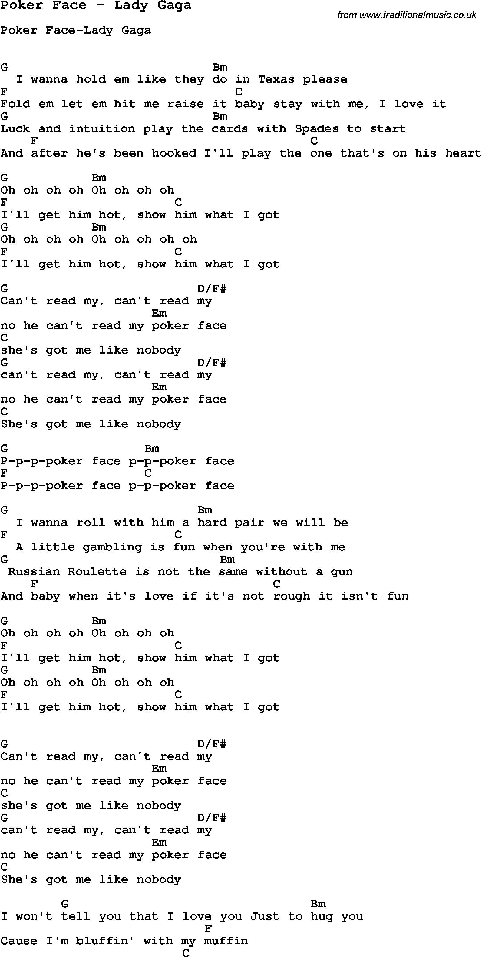 Song Poker Face by Lady Gaga, song lyric for vocal performance plus accompaniment chords for ...