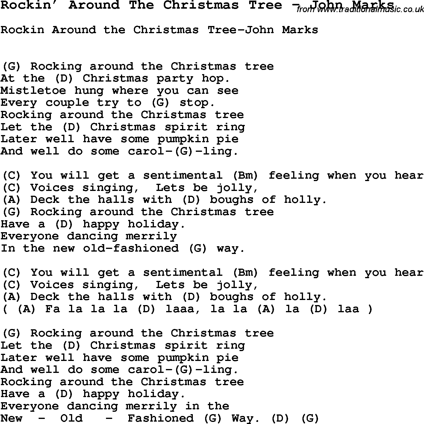 Song Rockinu2019 Around The Christmas Tree by John Marks, song lyric for vocal performance plus ...