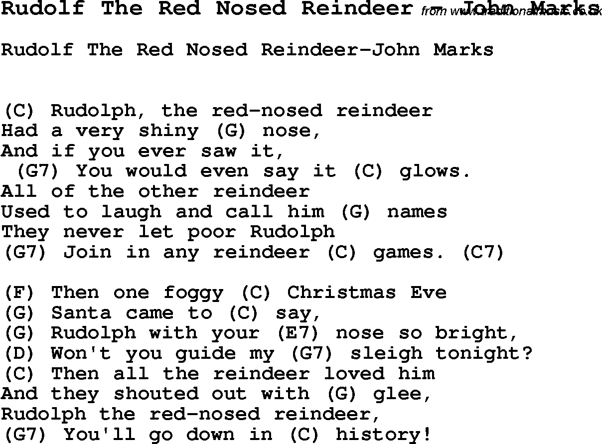 photo regarding Lyrics Rudolph the Red Nosed Reindeer Printable named Track Rudolf The Crimson Nosed Reindeer through John Marks, music lyric
