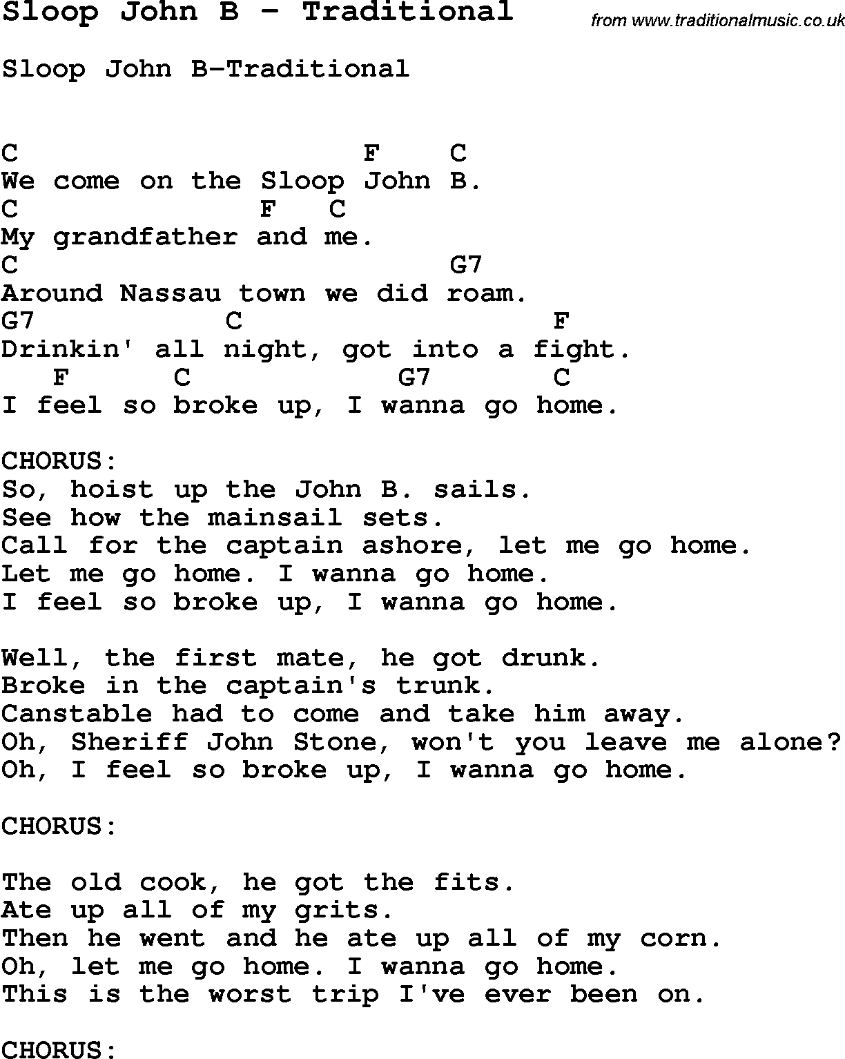 Song Sloop John B By Traditional Song Lyric For Vocal Performance