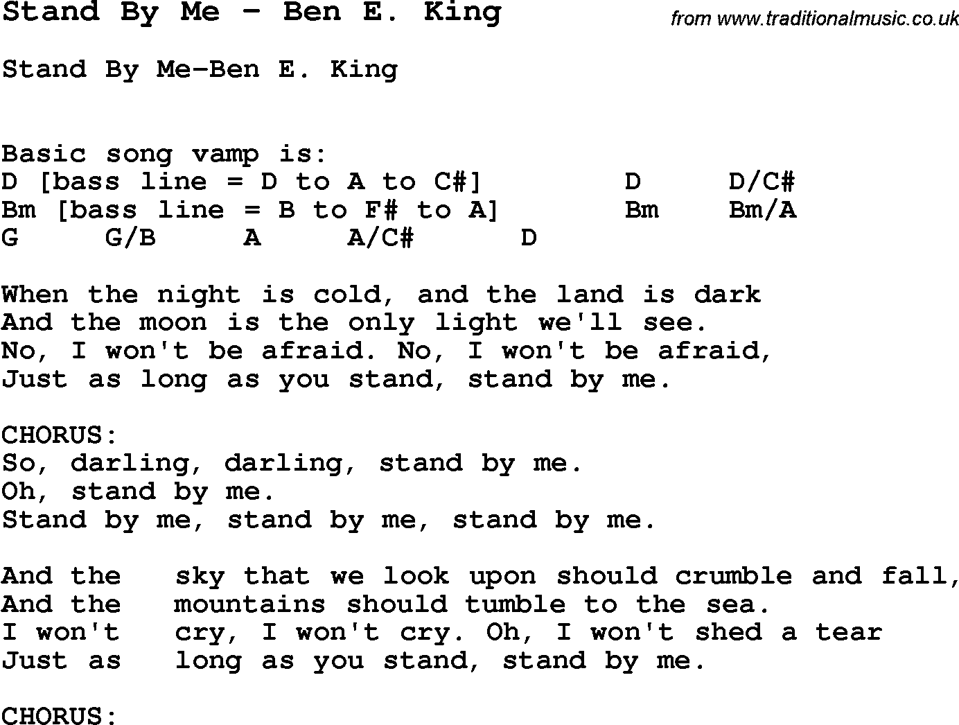 Song Stand By Me By Ben E King Song Lyric For Vocal Performance