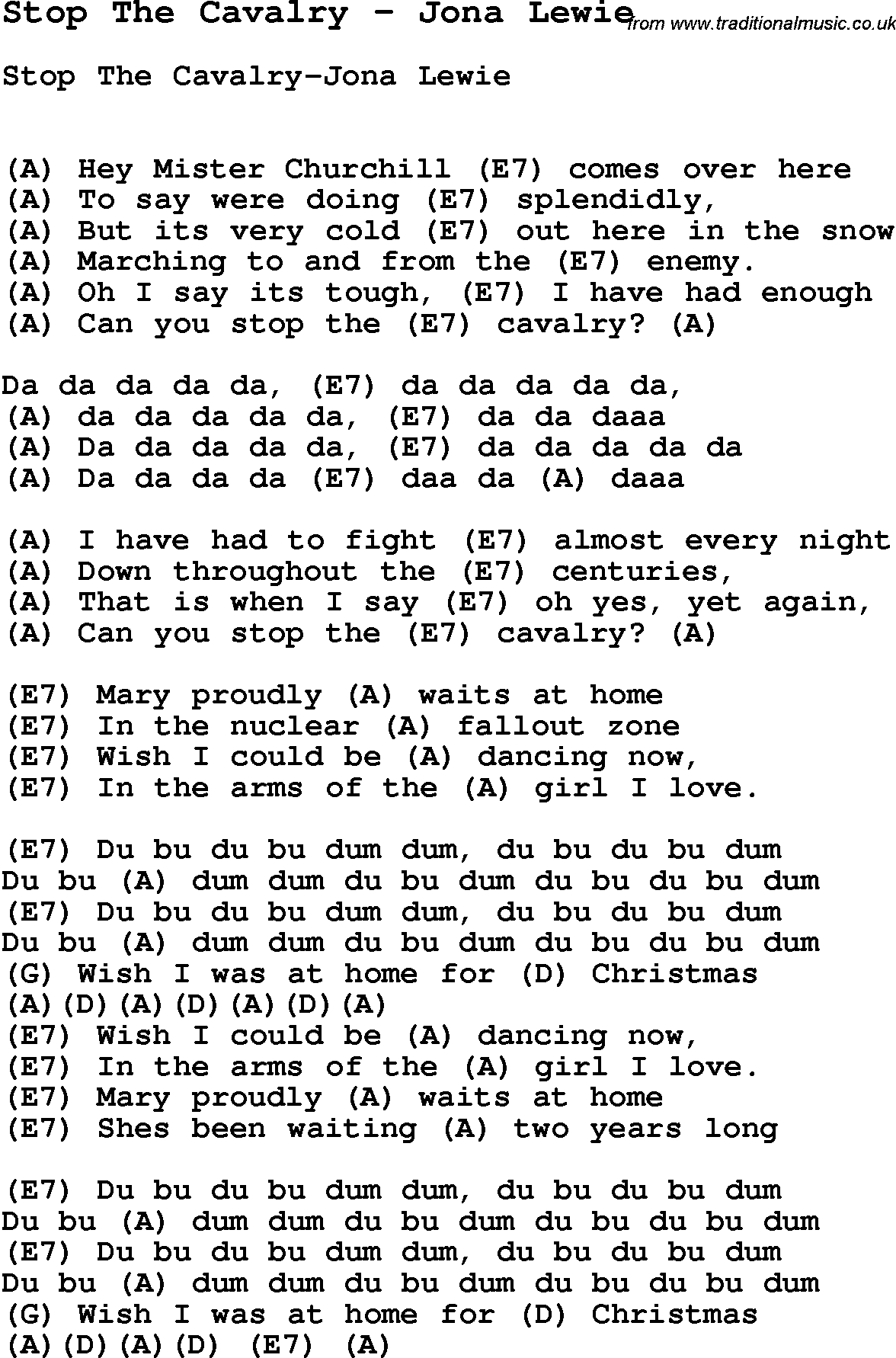 Song Stop The Cavalry by Jona Lewie, song lyric for vocal performance plus accompaniment chords ...