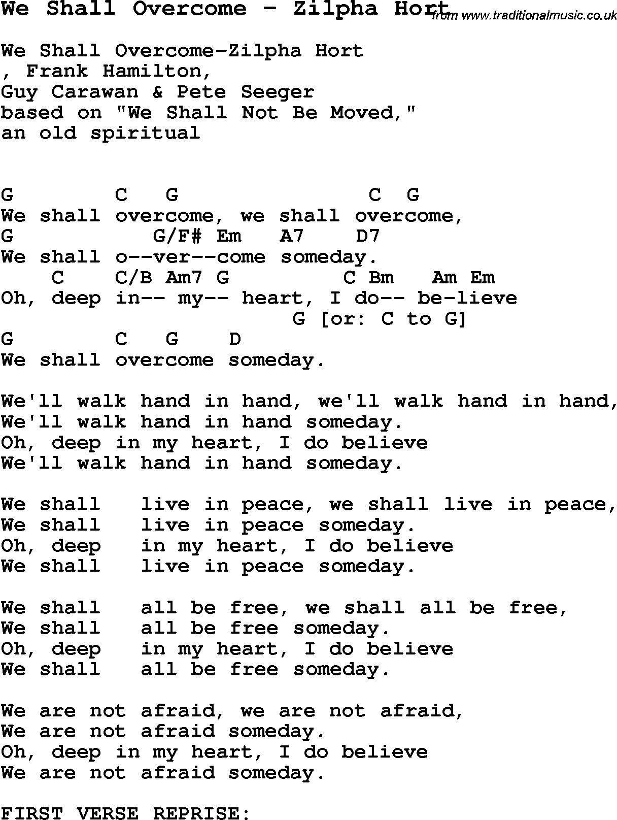 Song we shall overcome by zilpha hort song lyric for vocal song we shall overcome by zilpha hort with lyrics for vocal performance and accompaniment chords hexwebz Image collections