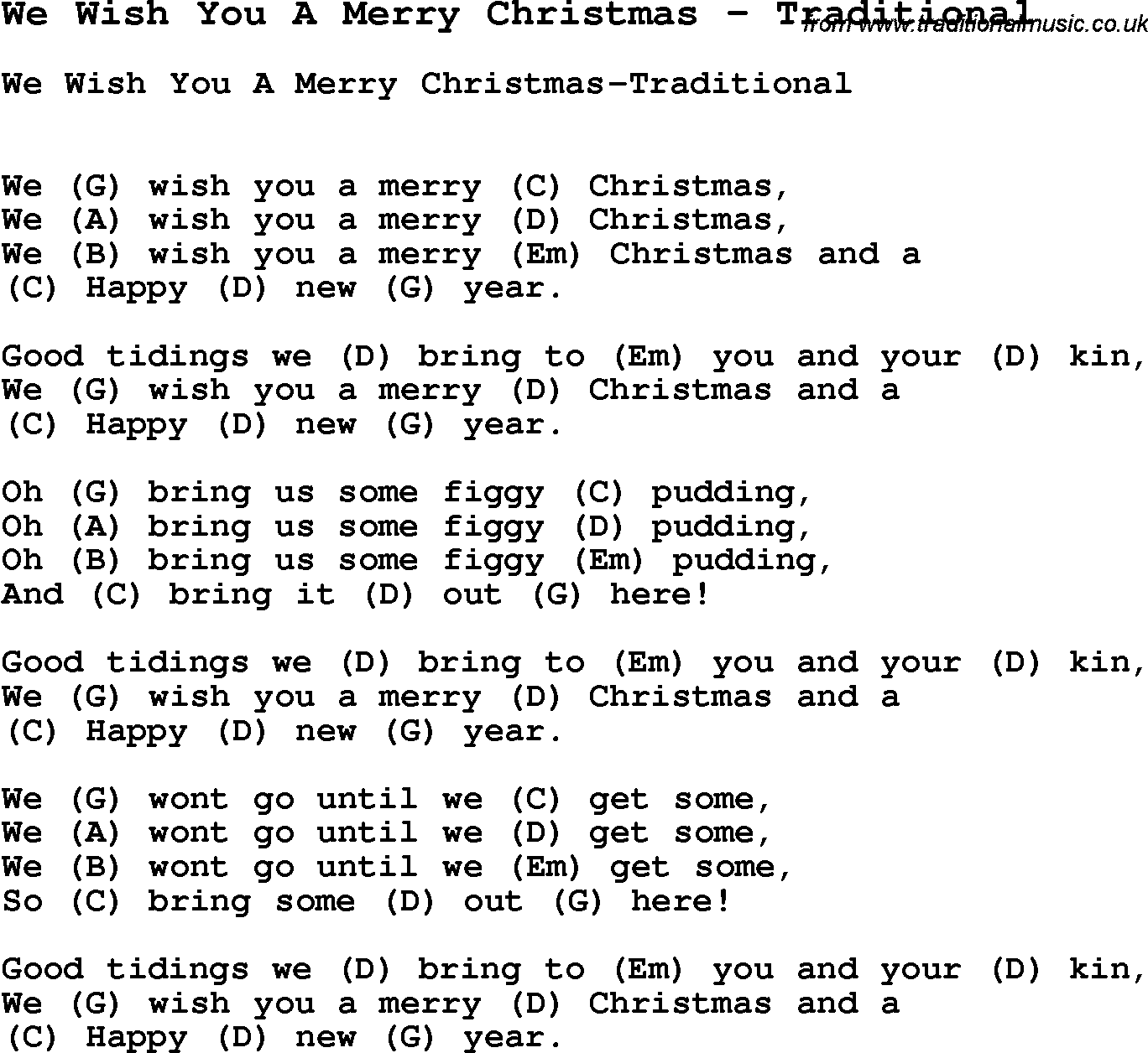 Song We Wish You A Merry Christmas by Traditional, song lyric for vocal performance plus ...
