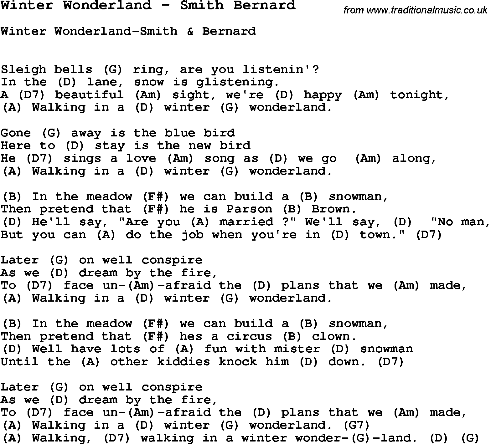 Song winter wonderland by smith bernard with lyrics for vocal