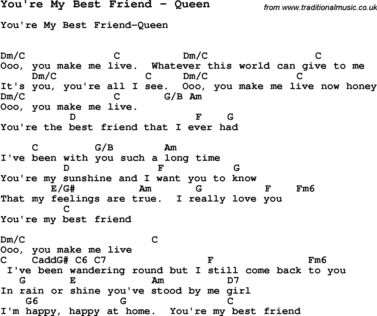 Song Youu0026#39;re My Best Friend by Queen, song lyric for vocal performance plus accompaniment chords ...