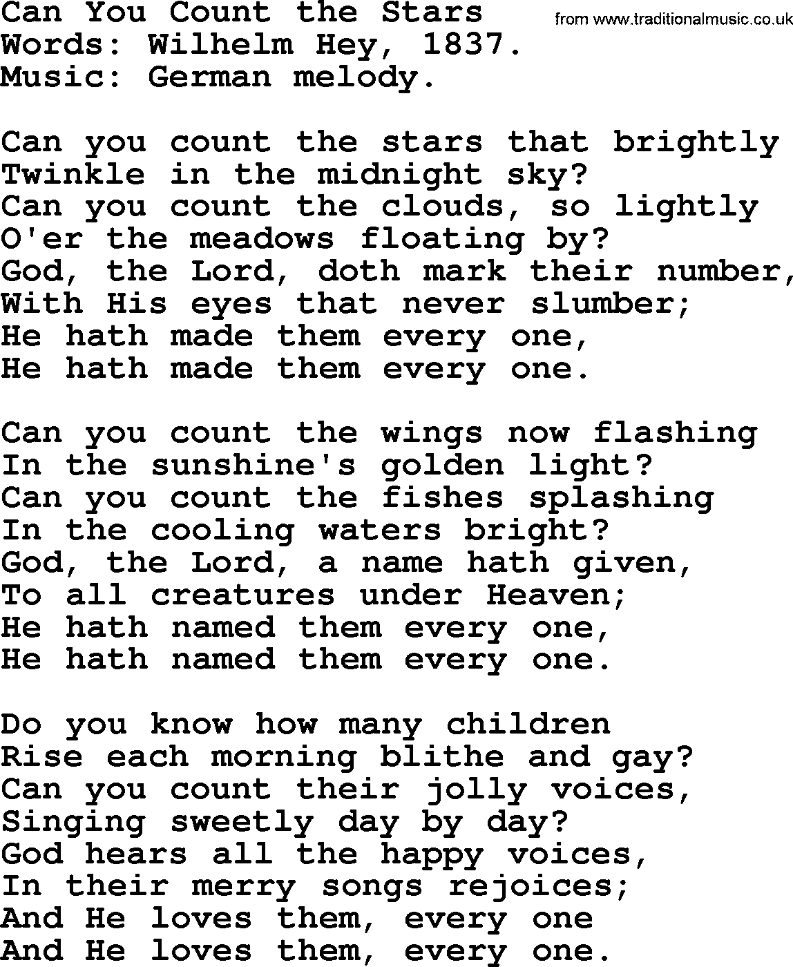Wedding Hymns and songs: Can You Count The Stars.txt - lyrics ...