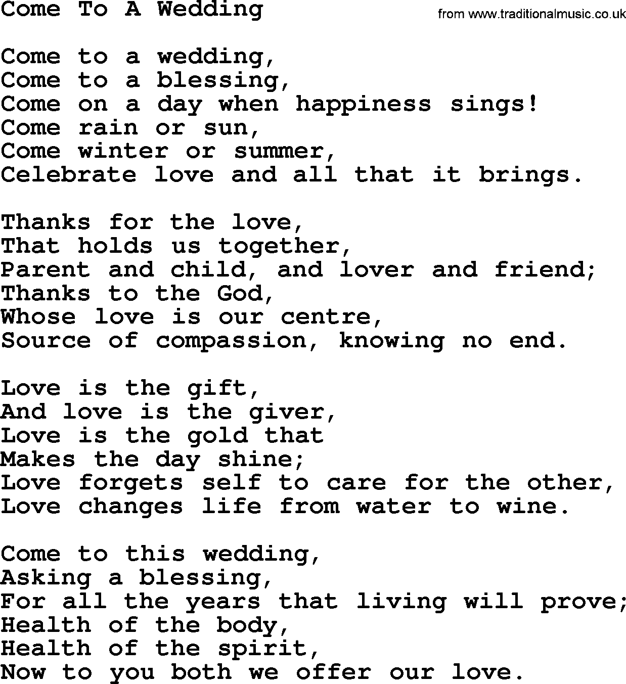 Wedding Hymns and songs: Come To A Wedding.txt - lyrics, chords ...