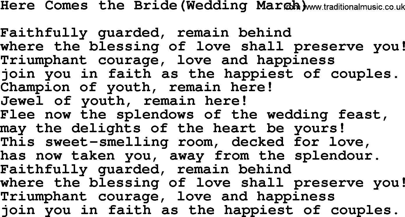 Wedding Hymns And Songs Here Comes The Bride Wedding March Txt